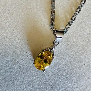 Jewelry - Sterling Silver Citrine Pendant Necklace